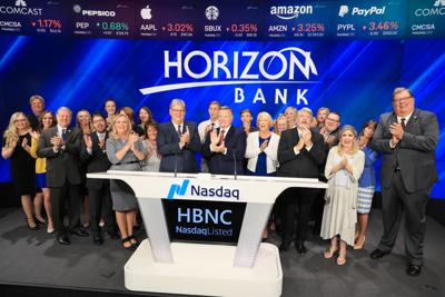 Horizon Bancorp executives at NASDAQ opening bell ceremony