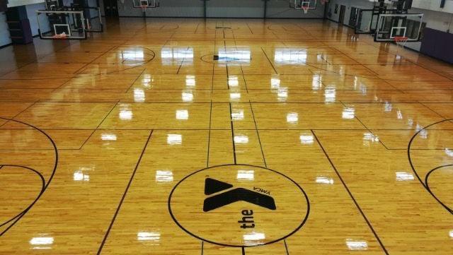 YMCA of DeKalb County refinished fieldhouse floor
