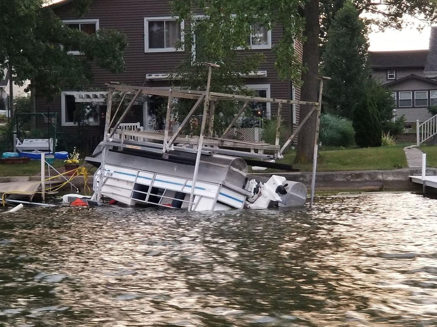 Overturned pontoon
