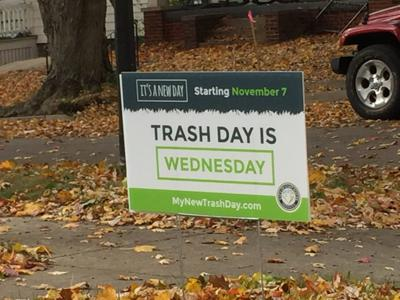 Trash day sign
