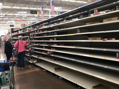Empty store shelves in Sumner County