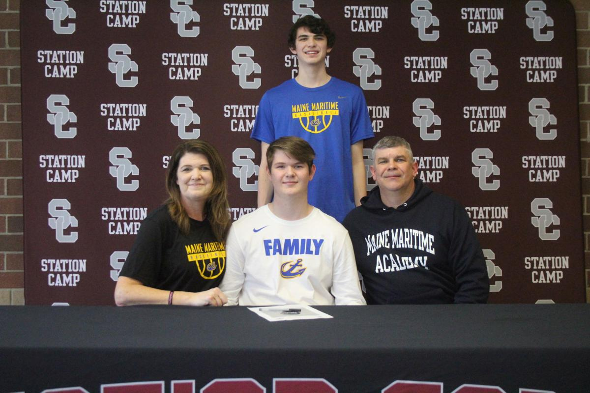 Cameron Gerlach (bottom center, pictured with mom and dad Kelly and Todd Gerlach with brother Bryce Gerlach) inks with Maine Maritime College.