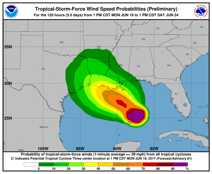 Preliminary potential tropical storm probability graph