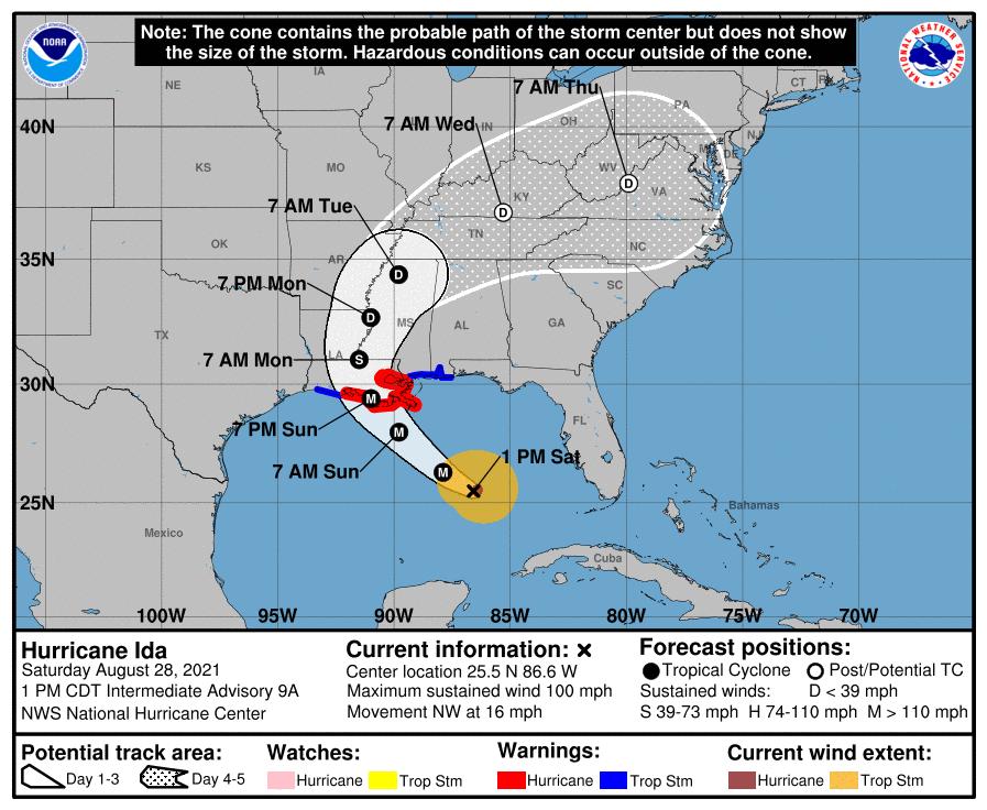 Hurricane Ida Cone