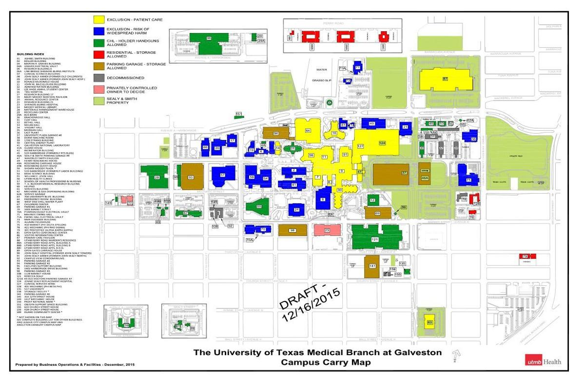 Utmb Campus Map UTMB Campus Carry Map | | The Daily News