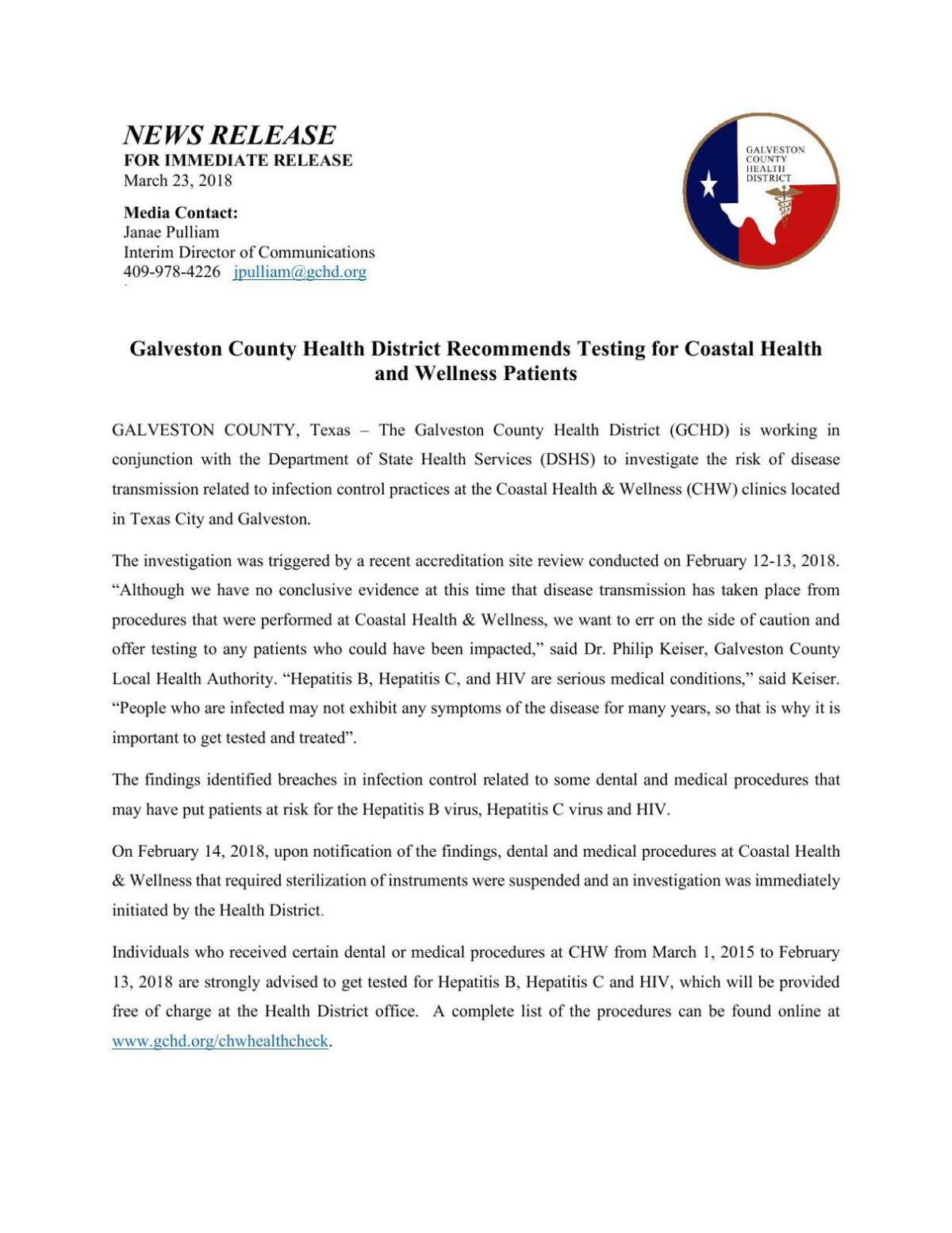 Galveston County Health District Recommends Testing for Coastal Health and  Wellness Patients | Free News | The Daily News