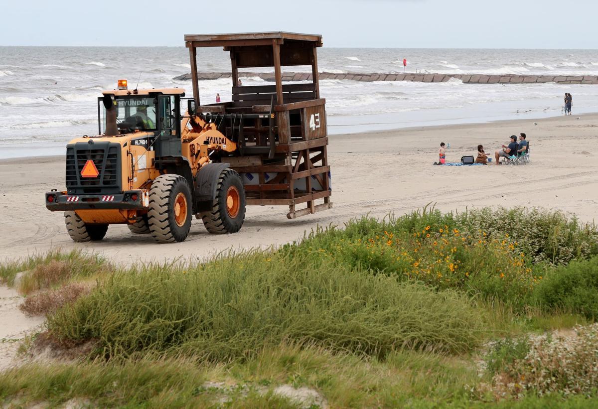 Lifeguard towers removed ahead of TS Nicholas