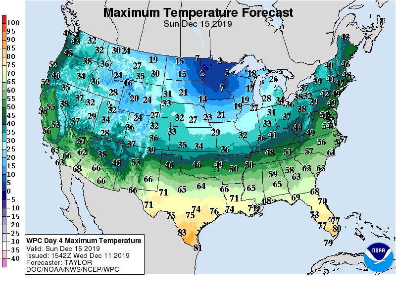 Maximum Temperature Forecast 12/15/19