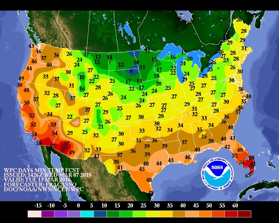 Six Day Minimum Temperature Forecast