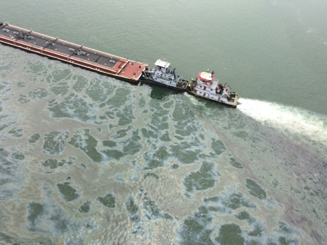 Barge leaking near Texas City Dike