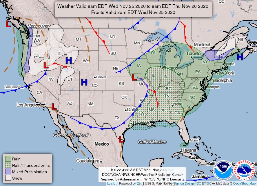 Thursday forecast map