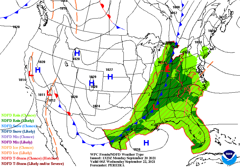 Forecast Map for early Wednesday