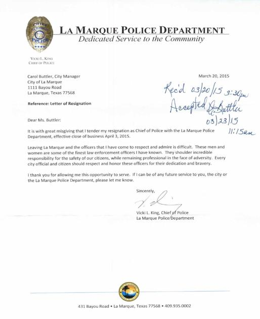 Vicki King's resignation letter | Free News | The Daily News