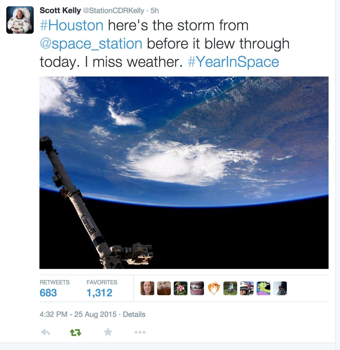Scott Kelly misses our weather