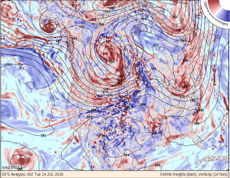 Current upper-level map with high pressure ridge to our west