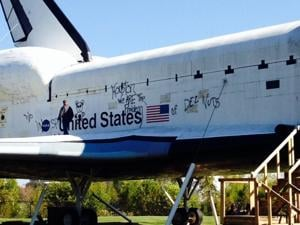 Graffiti tagger strikes Space Center Houston's shuttle ...