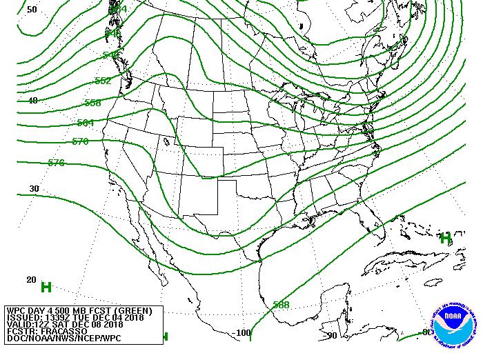 Upper-level forecast map in 4 days