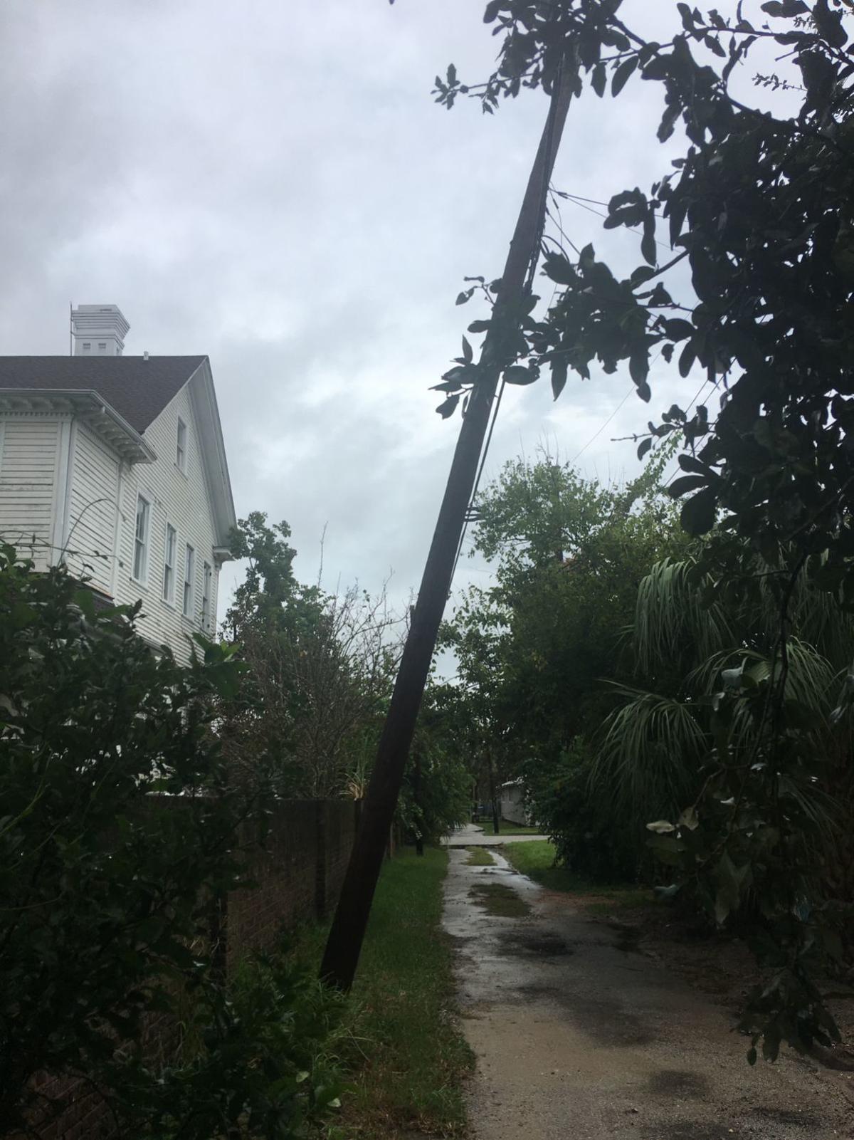 Leaning pole on Ave. O 1/2