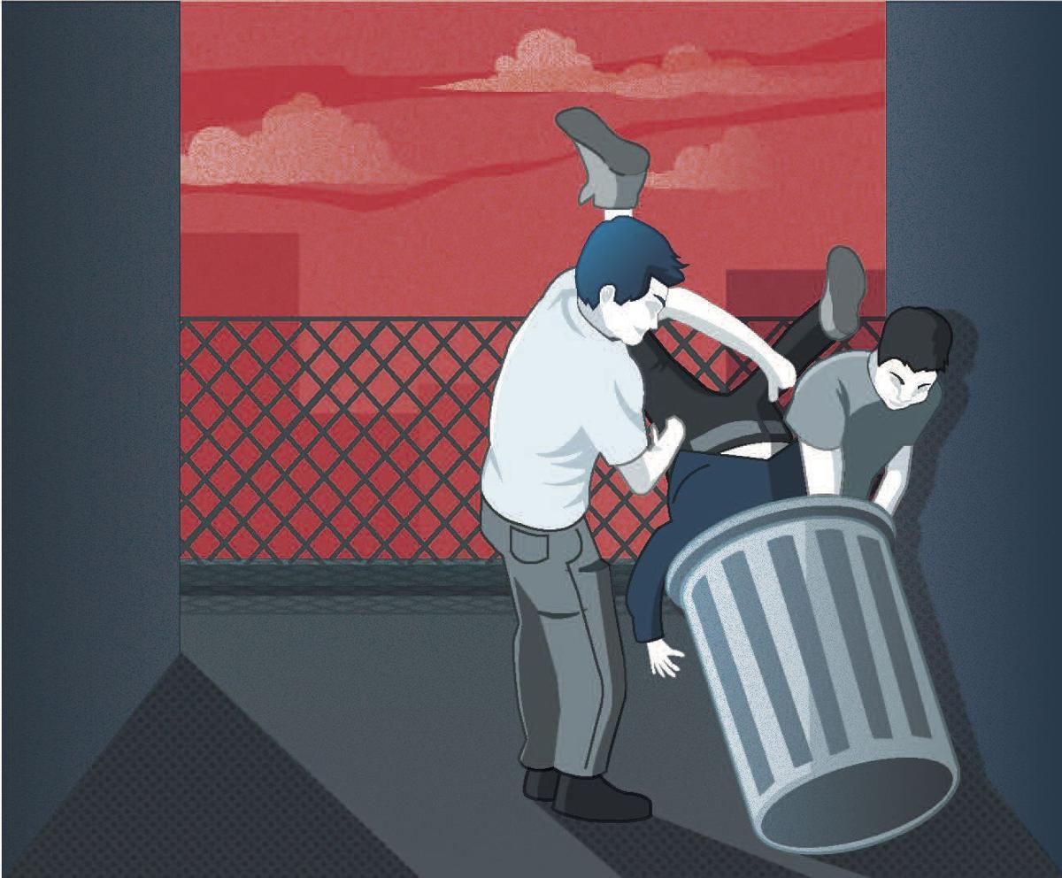 Bullies shoving victim in a trash can