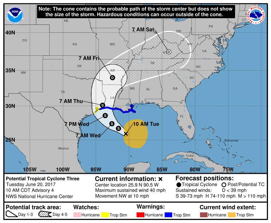 Anticipated track of Gulf disturbance