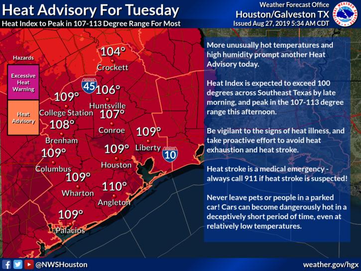 Heat Advisory For Tuesday