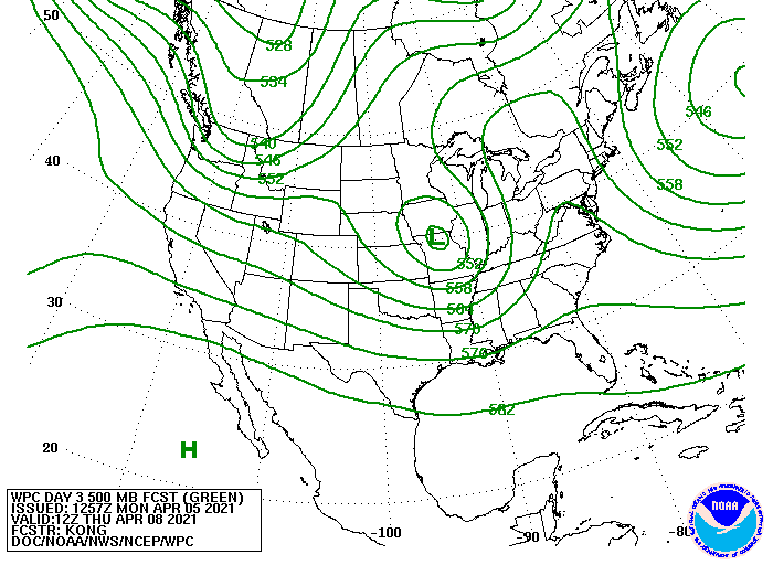 Upper-level forecast map for mid-week