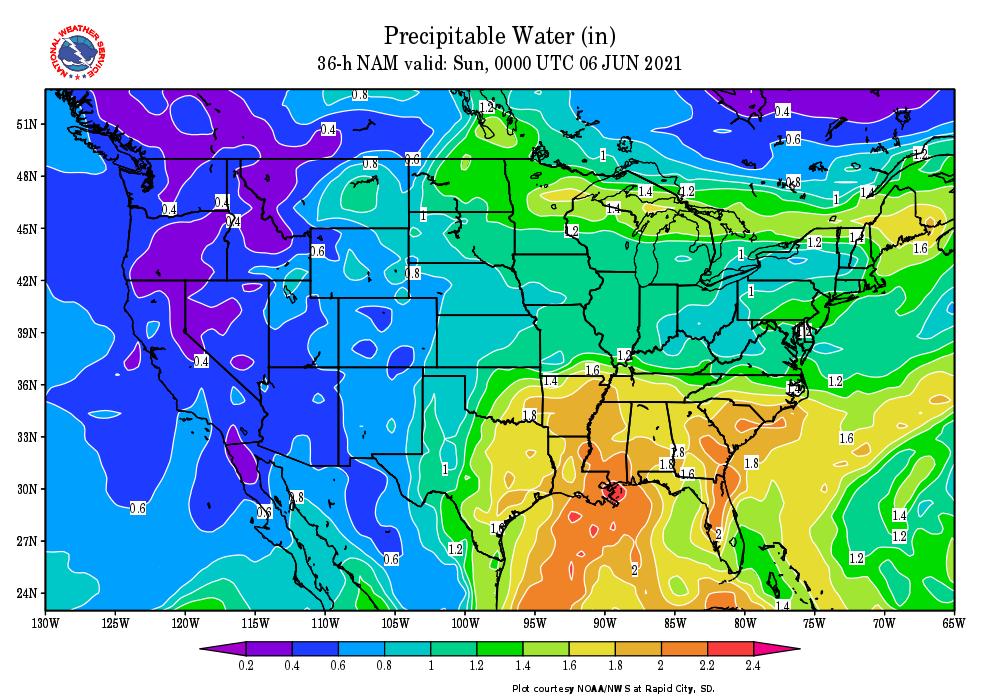 36-Hour Precipitable Water