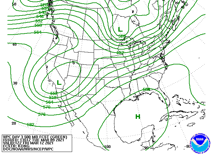 Day 3 500 MB Forecast