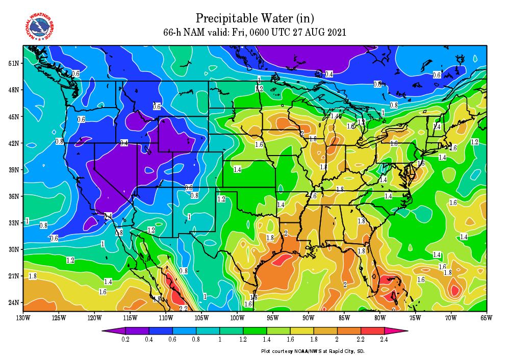 Precipitable Water Forecast Map for Thursday