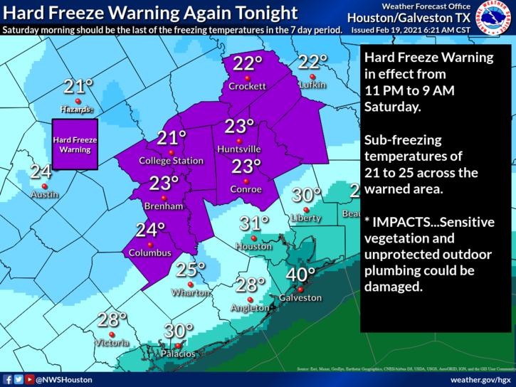 Hard Freeze Warning Again Tonight