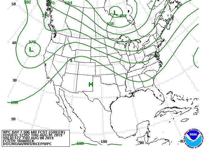 Upper-level forecast map for August 8