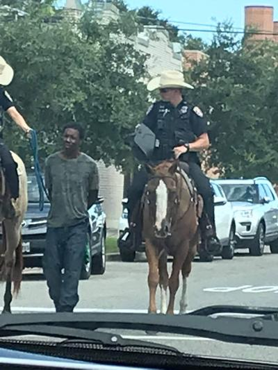 Mounted police arrest man in Galveston