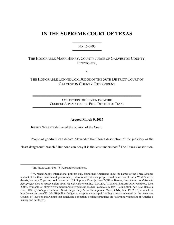 Supreme Court ruling on Henry v. Cox