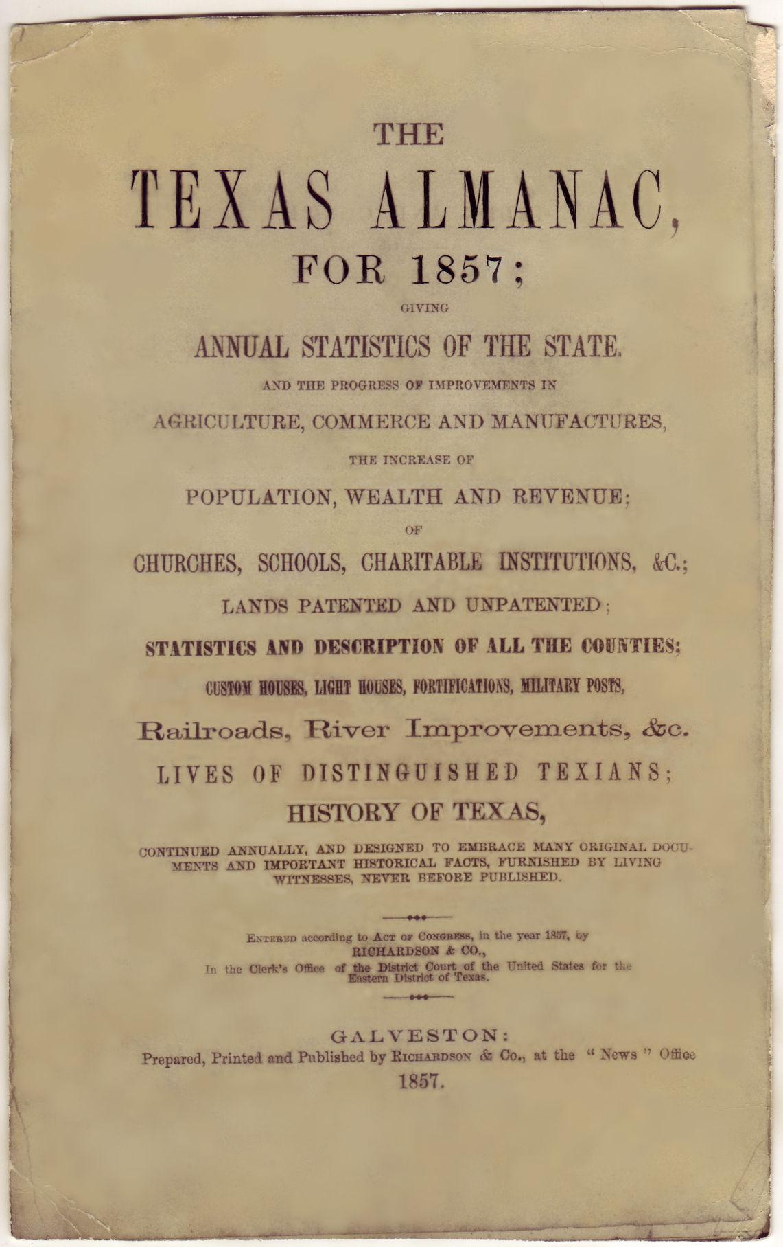 Texas Almanac 1857