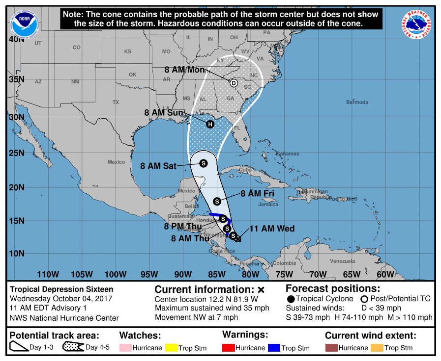 NHC projected track cone