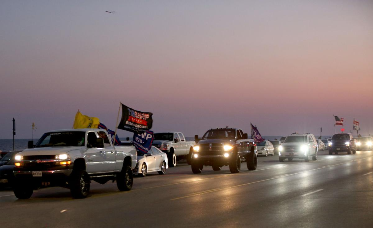 Trump supporters cruise the seawall Saturday