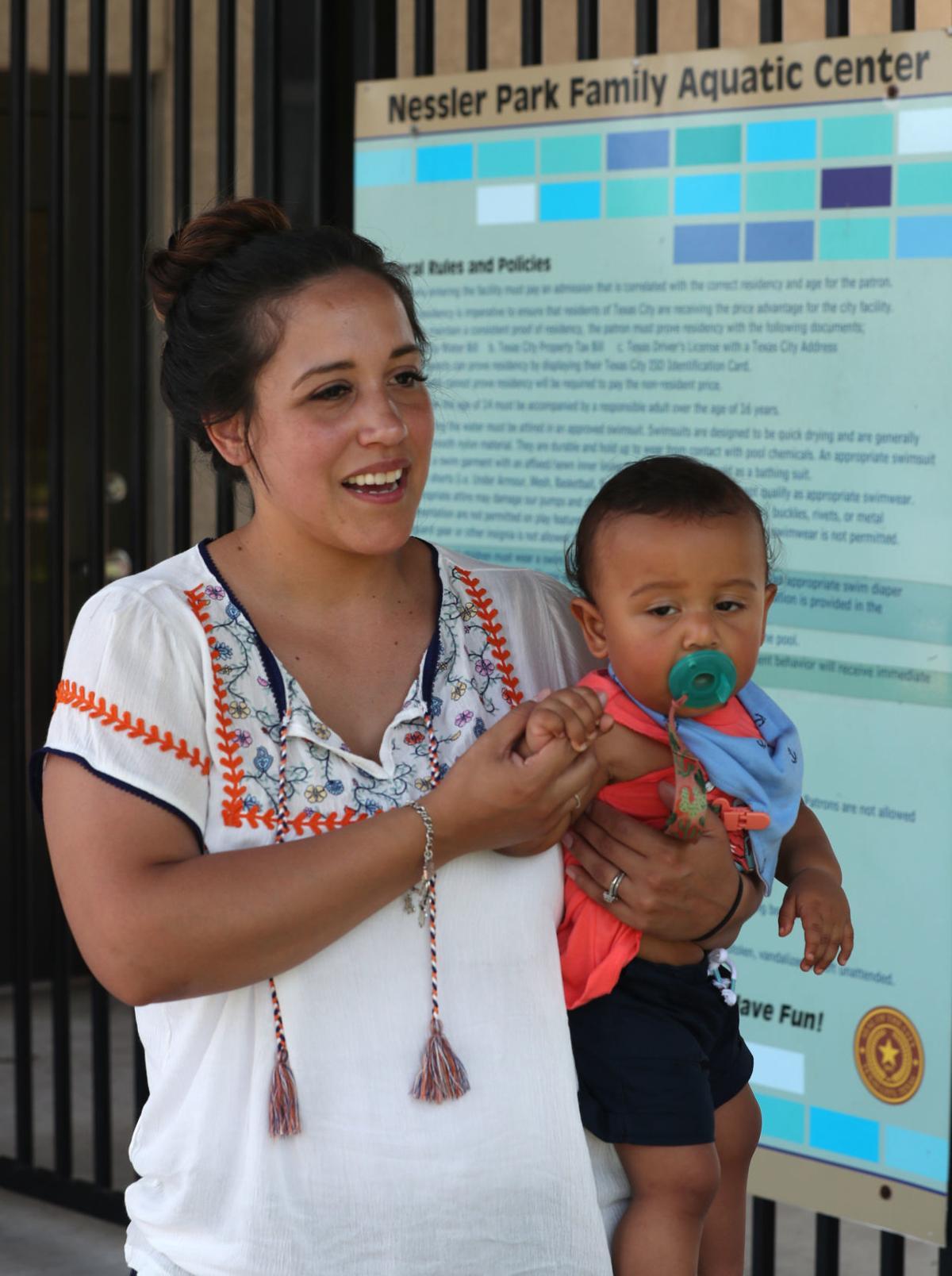 Breastfeeding protest at Texas City pool