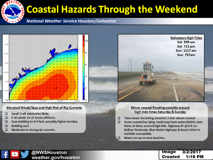 Weekend coastal hazards graphic