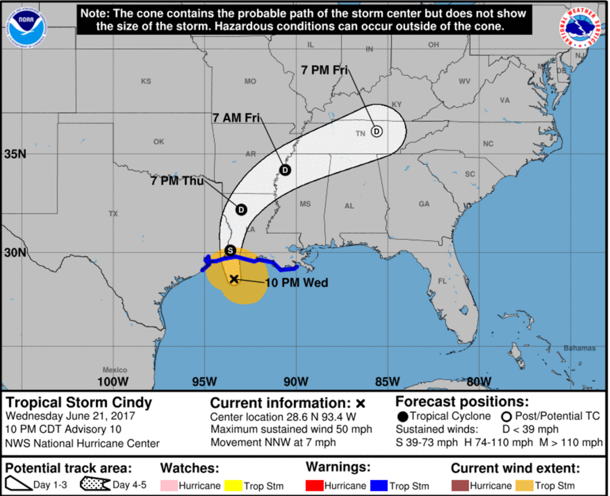 Tropical Storm Cindy, 10 p.m. Wednesday