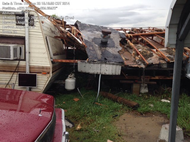 Mobile home flattened by storm