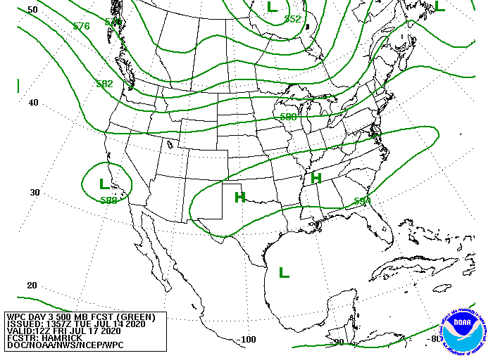 Upper-level forecast map for Friday, showing location of high pressure ridge and mid-level low pressure in the Gulf of Mexico.