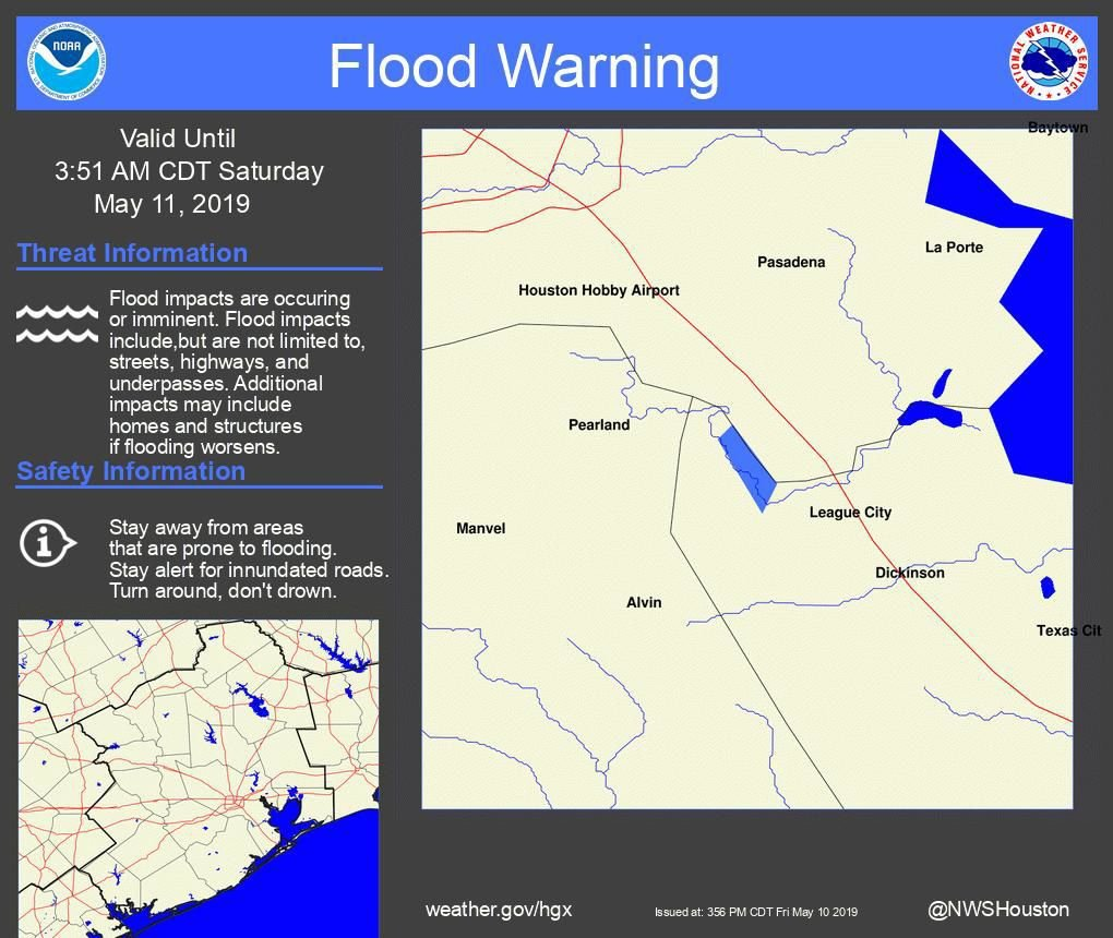 Cleer Creek Flood Warning until 3.51 AM Saturday