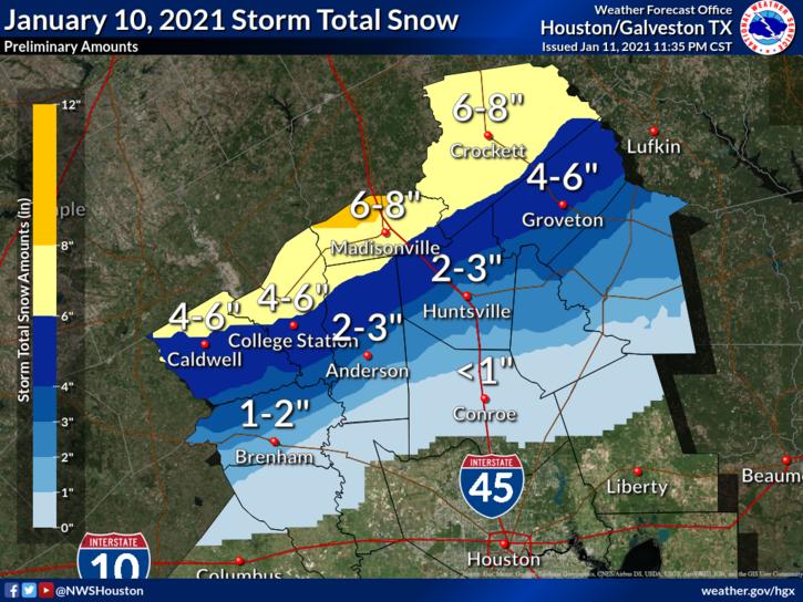 Jan. 10, 2021 Storm Total Snow