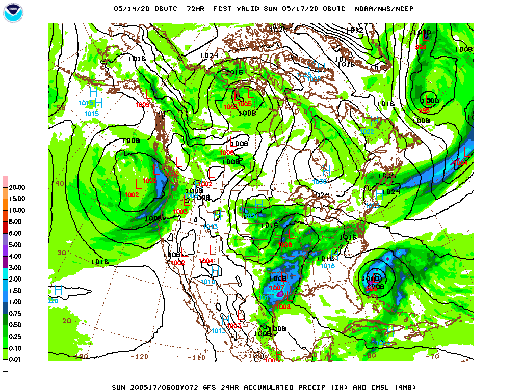 Upper-level low over Texas and developing tropical system east of Florida on Sunday.