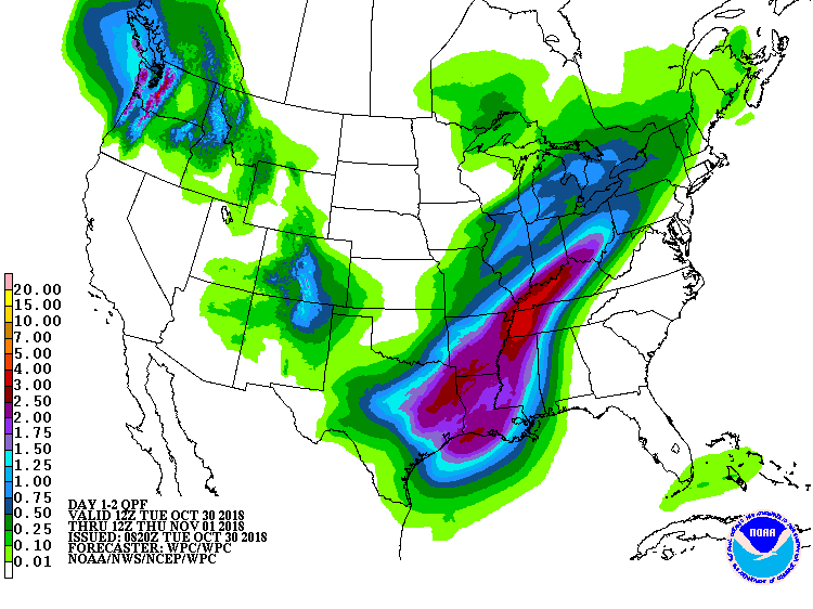 Precipitation outlook in 1-2 days