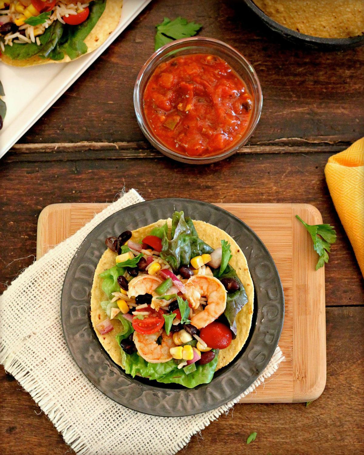 Shrimp Tostadas With Black Bean-Corn Salsa and Spiced Rice