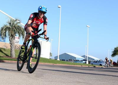 Triathletes compete in the annual Ironman 70.3 Texas