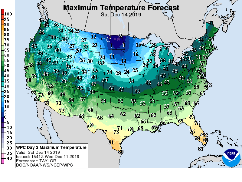 Maximum Temperature Forecast 12/14/19