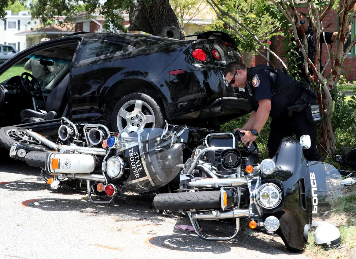 Driver hits three police motorcycles