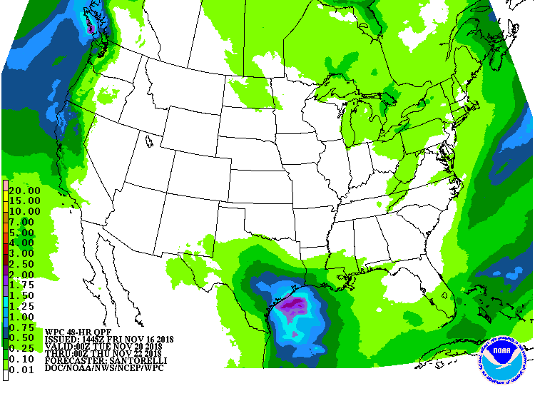 Rainfall outlook for the middle of next week